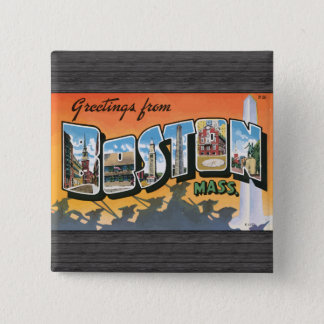 Greetings From Boston Mass., Vintage Button