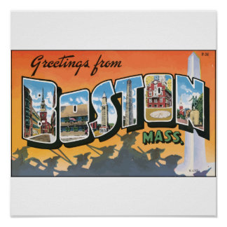 Greetings From Boston Mass., Vintage Poster