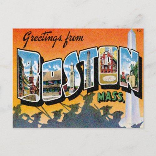 Greetings From Boston Massachusetts Postcard