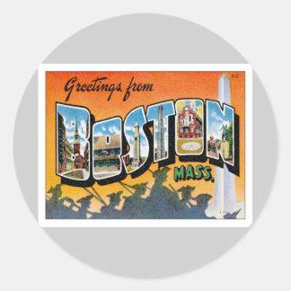Greetings From Boston Massachusetts Round Stickers