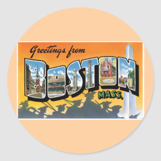 Greetings from Boston Round Stickers