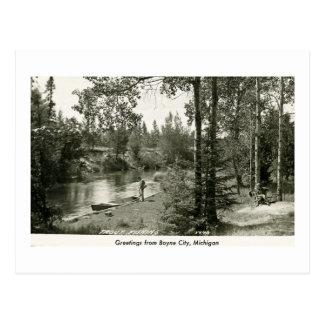 Greetings from Boyne City, MI. Trout Fishing Postcard