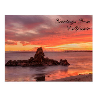 Greetings From California Beach Postcard