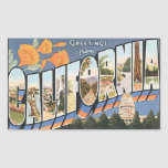 Greetings From California, Vintage Rectangular Stickers