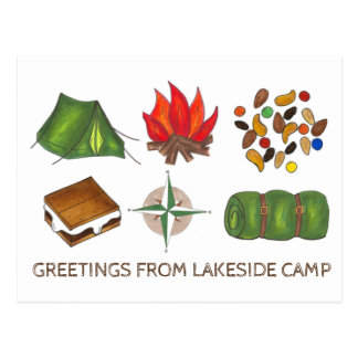 Greetings from Camp Summer Camping Postcard