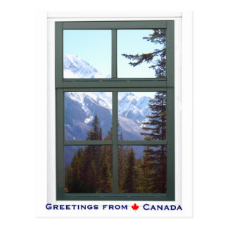 Greetings from Canada Rocky Mountains Window View Postcard
