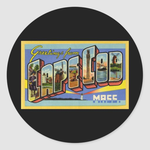 Greetings from Cape Cod Massachusetts Classic Round Sticker