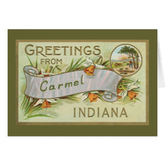 Greetings from Carmel Indiana-Green Border Card
