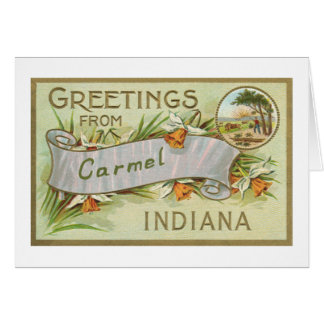 Greetings from Carmel Indiana-White Border Card