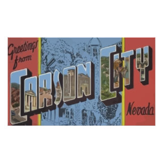 Greetings From Carson City Nevada, Vintage Print