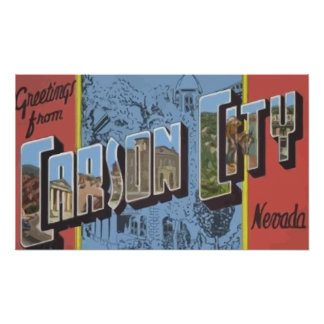 Greetings From Carson City Nevada, Vintage Poster