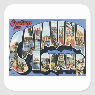 Greetings From Catalina Island California Square Sticker