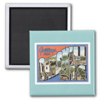 Greetings From Catskill Mountains 2 Inch Square Magnet