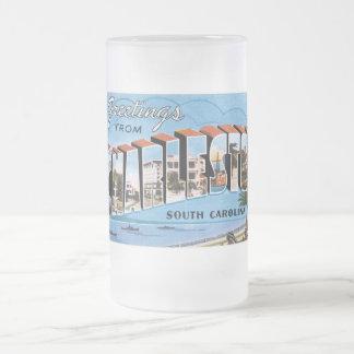 Greetings from Charleston, South Carolina! Frosted Glass Beer Mug