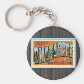 Greetings From Charlotte N.C. , Vintage Basic Round Button Keychain