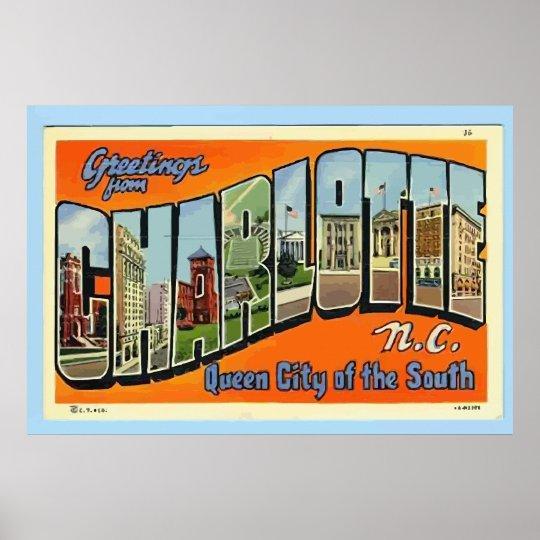 Greetings From Charlotte N.C. , Vintage Poster