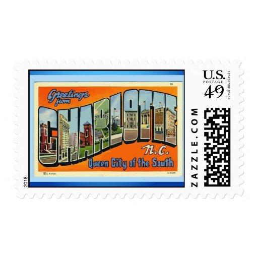 Greetings From Charlotte N.C. , Vintage Stamp