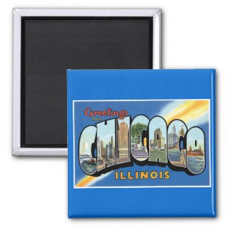 Greetings from Chicago, Illinois! 2 Inch Square Magnet