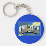 Greetings from Chicago, Illinois! Basic Round Button Keychain