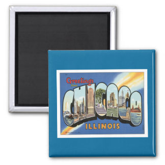 Greetings From Chicago Illinois 2 Inch Square Magnet
