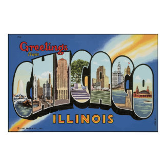 Greetings From Chicago Illinois, Vintage Poster