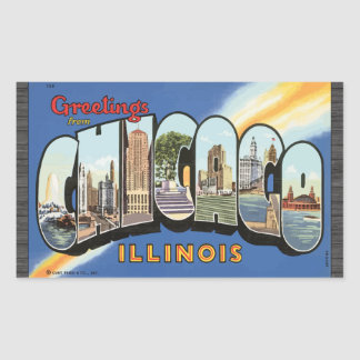 Greetings From Chicago Illinois, Vintage Rectangular Sticker
