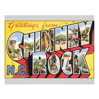Greetings From Chimney N C Rock Vintage Personalized Flyer