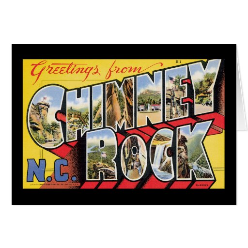 Greetings from Chimney Rock, NC Greeting Card