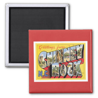 Greetings From Chimney Rock North Carolina 2 Inch Square Magnet