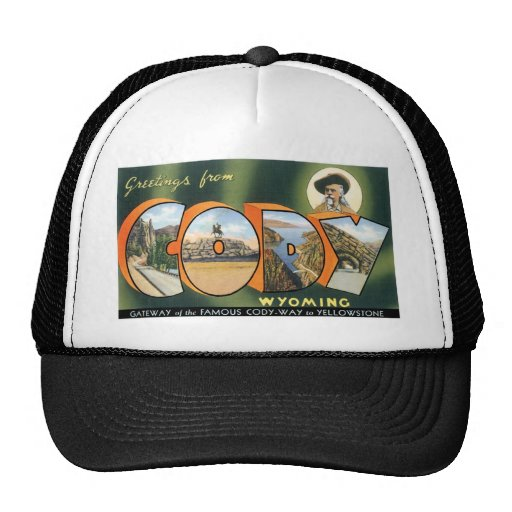Greetings from Cody, Wyoming! Vintage Post Card Mesh Hats