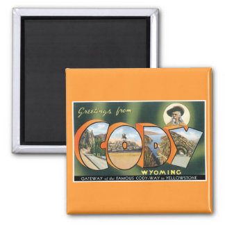 Greetings from Cody, Wyoming! Vintage Post Card Magnets