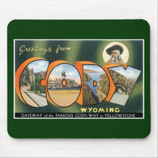 Greetings from Cody, Wyoming! Vintage Post Card Mouse Pad