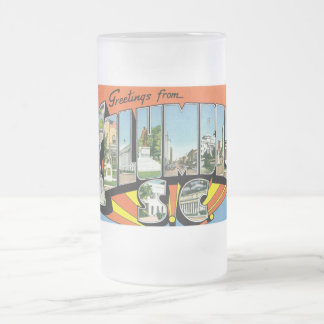 Greetings from Columbia, South Carolina! Frosted Glass Beer Mug
