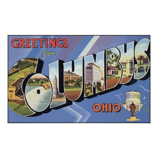 Greetings From Columbus Ohio, Vintage Poster