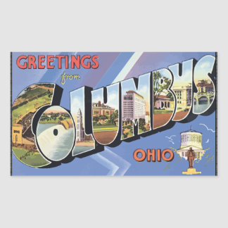 Greetings From Columbus Ohio, Vintage Rectangular Sticker