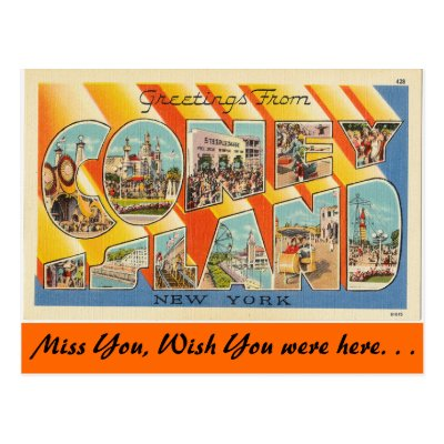 Greetings from coney island postcard zazzle m4hsunfo