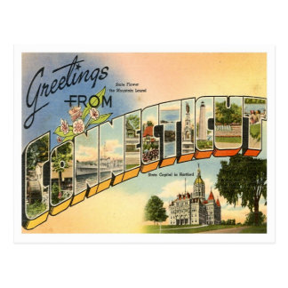 Greetings From Connecticut Vintage Postcard