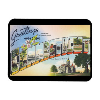 Greetings from Connecticut_Vintage Travel Poster Magnet