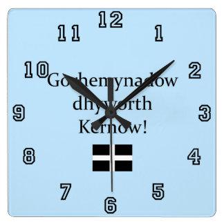 Greetings from Cornwall in Cornish Language Square Wallclock