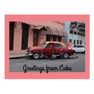 Greetings from Cuba Red Car Pink Building Postcard