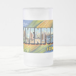 Greetings from Davenport, Iowa! Frosted Glass Beer Mug