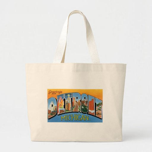 Greetings from Detroit! Canvas Bags