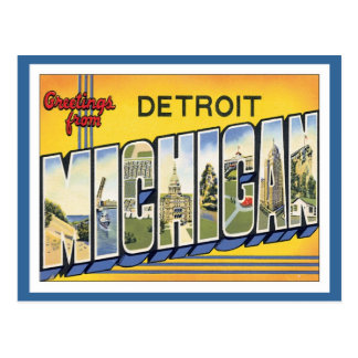 Greetings From Detroit Michigan Postcard