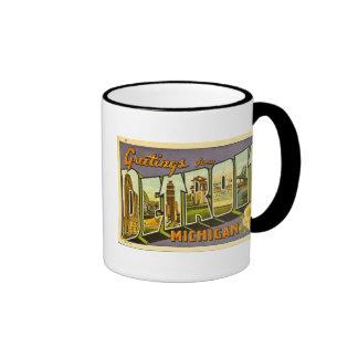 Greetings from Detroit Michigan Ringer Mug