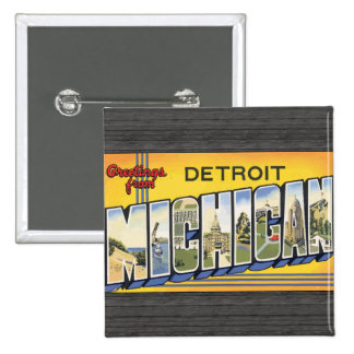 Greetings From Detroit Michigan, Vintage Buttons