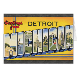 Greetings From Detroit Michigan, Vintage Greeting Card
