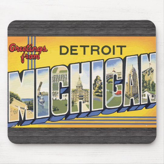 Greetings From Detroit Michigan, Vintage Mouse Pad