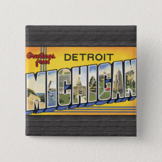 Greetings From Detroit Michigan, Vintage Pinback Button