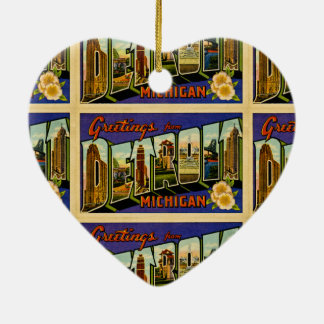 Greetings from Detroit Michigan Vintage Post Card Ceramic Ornament