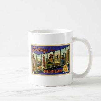 Greetings from Detroit Michigan Vintage Post Card Coffee Mug